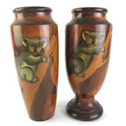 Sale 8793 - Lot 2 - Pair of Pokerwork Australian Vases decorated with Koalas