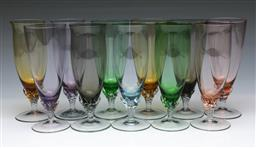 Sale 9098 - Lot 97 - A Set Of 11 Colourful Wine Glasses