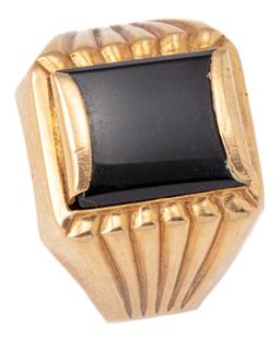 Sale 9124 - Lot 437 - A GENTS RETRO 18CT GOLD ONYX SIGNET RING; set with a rectangular onyx plaque to tapered reeded shoulders, size R, (shank bent, stamp...