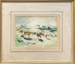 Sale 9123 - Lot 2015 - Frank McNamara Morning Graze, 1946watercolour (AF), 54 x 63cm (frame) signed and dated lower right -