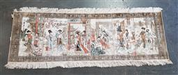Sale 9255 - Lot 1052 - Hand knotted pictorial silk rug (64 x 187cm)
