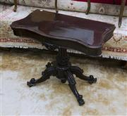 Sale 8205 - Lot 75 - A Victorian rosewood folding card table, with carved pedestal base and hinge top opening revealing green baize lining, H 78 x W 90cm...