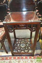 Sale 8255 - Lot 1012 - Pair of Chinese Carved Rosewood Chairs & Table, the chairs with marble panel backs, the square table open apron and pierced stretche...