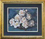 Sale 8309 - Lot 537 - Alan Douglas Baker (1914 - 1987) - Camellias 29 x 36.5cm