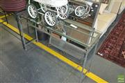 Sale 8331 - Lot 1299 - Metal Based Hall Table w Glass Top