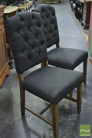 Sale 8361 - Lot 1018 - Set of 6 Black Upholstered Dining Chairs