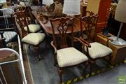 Sale 8489 - Lot 1033 - Timber Nine Piece Dining Setting incl. Twin Pedestal Extension Table with Two Leaves & Eight Pierced Back Chairs incl. Two Carvers