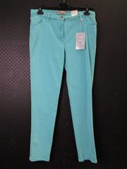 Sale 8514H - Lot 75 - Michelle Magic Turquoise Stretch Cotton Pants - UK size 18
