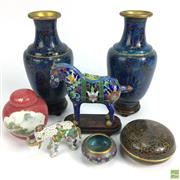 Sale 8648A - Lot 173 - Cloisonne Ware Collection inc Pair of Vases ( H 18cm) Horse and Elephant Figure with Lidded Pin Dish