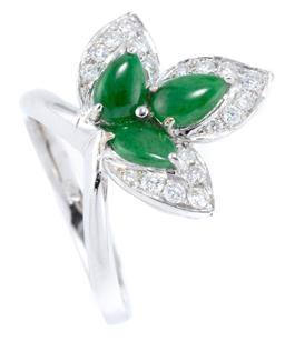 Sale 9124 - Lot 496 - AN 18CT WHITE GOLD JADE AND DIAMOND RING; tri form leaf design set with 3 pear shape cabochon bright green jadeite jades totalling a...