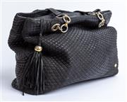 Sale 9010H - Lot 81 - A Bally Italy shoulder bag in a quilted black leather design featuring multiple pockets and leather lining