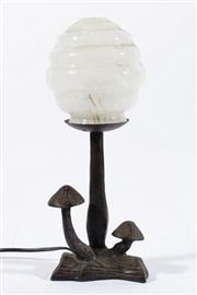 Sale 9010D - Lot 703 - Cast Iron Mushroom on Log Table Lamp with Art Deco Shade (H:35cm)