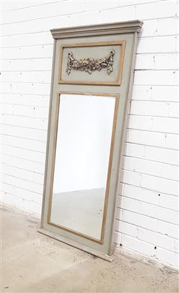 Sale 9126 - Lot 1005 - Louis XVI Style Painted Pier or Trumeau Mirror, in a grey tone with gilt accents, having a festoon in the panel (h:140 x w:64cm)