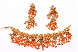 Sale 9136 - Lot 273 - An Indian bejewelled necklace with matching earrings