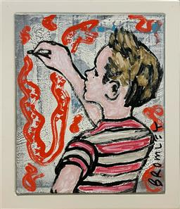 Sale 9248H - Lot 100 - DAVID BROMLEY (1960 - ) Original Synthetic Polymer Painting on Canvas - Framed Title: Drawing Fun Signed: Lower Image Image...