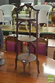 Sale 8299 - Lot 1016 - Timber Three Tier Cake Stand
