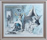 Sale 8308A - Lot 105 - An C18th hand coloured engraving, The Morning After Marriage, by Plenipo Georgy, published by W Holland of Oxford St London, numbe...