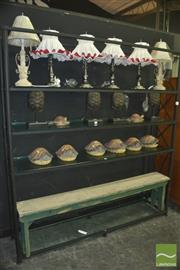Sale 8331 - Lot 1016 - Large Metal Framed Bookshelf w Glass Shelves