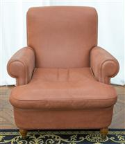 Sale 8470H - Lot 144 - A Baxter armchair upholstered in tan pigskin leather, on castors, H 94 x W 84 x D 100cm
