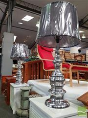 Sale 8550 - Lot 1415 - Pair of Tall Polished Chrome Metal Base Table Lamps (5783)