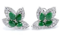 Sale 9124 - Lot 498 - A PAIR OF 18CT WHITE GOLD JADE AND DIAMOND EARRINGS; leaf designs each set with 4 pear shape cabochon bright green jadeite jades wit...