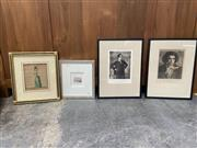 Sale 9069 - Lot 2079 - A group of four prints including  a portrait of Beethoven, Gustav Mahler, 18th century French Vogue & European Scene