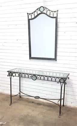 Sale 9112 - Lot 1084 - Wrought Iron and Glass Console Table and Mirror (chip to glass top)