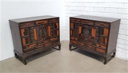 Sale 9126 - Lot 1111 - Pair of Possibly Antique Japanese Persimmon Veneered Cabinets, each with three drawers and two doors (h:73 w:84.5 d:38cm)