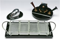 Sale 9156 - Lot 278 - Collection of art deco wares inc desk set, tray and inkwell