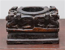 Sale 9160H - Lot 77 - An Indian carved capital/bowl with kneeling oxen, Height 12cm x Width 22cm x Depth 15cm