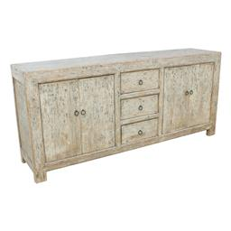 Sale 9245T - Lot 6 - A rustic elm sideboard with four doors and three drawers.  Dimensions: H 90 x W 200 x D 45cm
