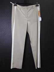 Sale 8514H - Lot 77 - Avantgarde Beige Stretch Cotton Pants with white inset - UK size 10