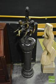 Sale 8520 - Lot 1070 - Bronze on Marble Pedestal Children Frolicking