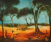 Sale 8616 - Lot 562 - Kevin Charles (Pro) Hart (1928 - 2006) - The Picnic in the Creek 49.5 x 60cm