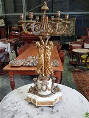 Sale 8617 - Lot 1068 - Impressive Louis XVI Style Gilt Brass & Marble Candelabrum, with two maidens upholding six scrolling branches, the white marble socl...