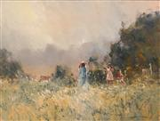 Sale 8665A - Lot 5095 - Robert Hagan (1947 - ) - Summer Ladies Day of the Valley 90 x 121cm