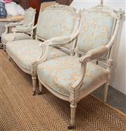 Sale 8709 - Lot 1038 - An antique three piece Louis XV style painted salon suite with pale blue floral upholstery (damage to ribbon top), width of settee 1...