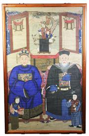 Sale 8810 - Lot 63 - Set of Three Framed Chinese Ancestoral Paintings