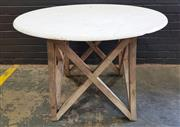 Sale 8996 - Lot 1095 - Marble Top Table On Rustic Timber Base (H74 x D100cm)