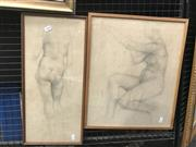 Sale 9033 - Lot 2008 - Keith Looby (2 works) Nude Studies pencil on paper (AF - foxing) 47 x 39cm; 53 x 25cm (frame) signed