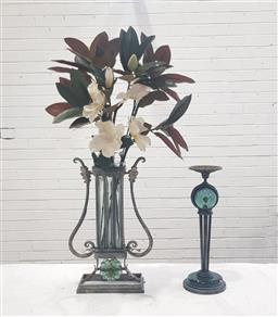 Sale 9108 - Lot 1008 - Wrought iron and glass vase and candlestick