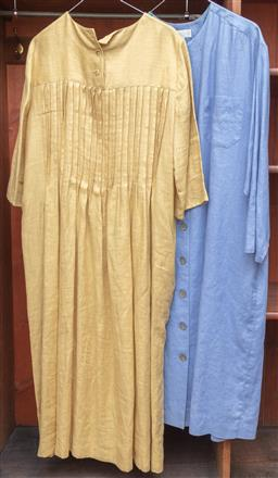 Sale 9120H - Lot 261 - Two Penelope Shilling linen  dresses in blue (size 12) and in mustard (size 14)