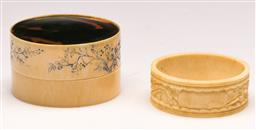 Sale 9136 - Lot 274 - An ivory case with Tortoise shell insert (Dia 6cm) Together with A napkin ring (Dia 5cm)
