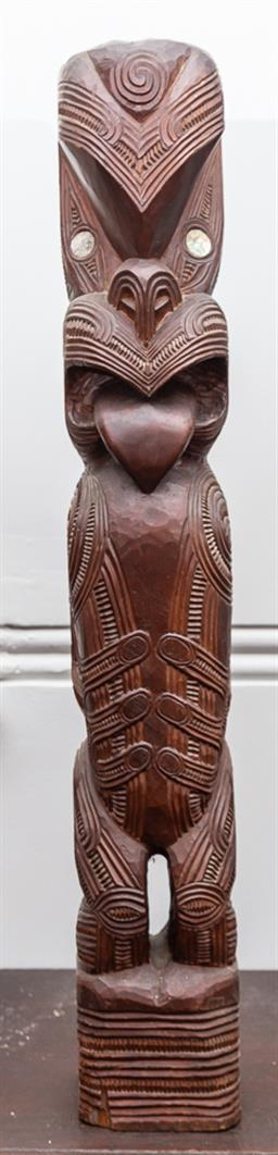 Sale 9160H - Lot 78 - Maori figural bird sculpture with paua shell eyes, and carved decorations, Height 96cm, 1960s