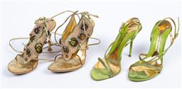 Sale 9095F - Lot 51 - Two pairs of strappy high heels including; Ce fou Shoo with jewel encrusted pony hiar straps, size 8 and a pair of Frances Cosacco g...