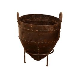 Sale 9216S - Lot 59 - An antique metal pot with rivets and handles on stand, Height 34cm x Width 26cm x Depth 26cm