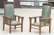 Sale 8319 - Lot 330 - Pair of oak armchairs with adjustable hinge backs