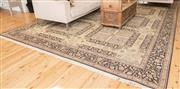 Sale 8380A - Lot 6 - A Persian garden motif carpet of muted tones, featuring grid pattern containing flora and fauna, 360 x 280cm