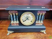 Sale 8617 - Lot 1019 - Early 20th Century American Ebonised Sessions Timber Mantle Clock, with painted columns & gilt brass dial (missing pendulum bob)