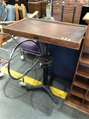 Sale 8801 - Lot 1577 - Industrial Side Table on Cast Iron Base by British Optical Co